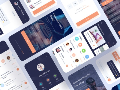 Fitness App full product profile card black orange chat image home diet health login man fitness workout dark icon ui download buy kit