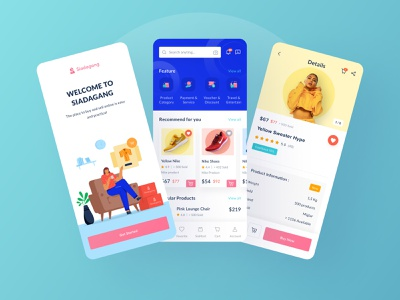 Siadagang  Ecommerce Mobile UI Kit🌟 blue details home onboarding branding ux product source icon illustration ios