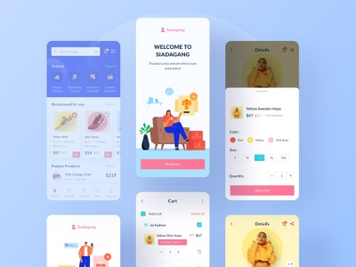Siadagang Mobile UI Kit🌟 filter home details oboarding ecommerce branding ux product source icon illustration ios
