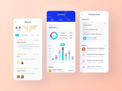 Siadagang Mobile UI Kit🌟 revenue shipping ratings statistic ecommerce branding ux product source icon illustration ios