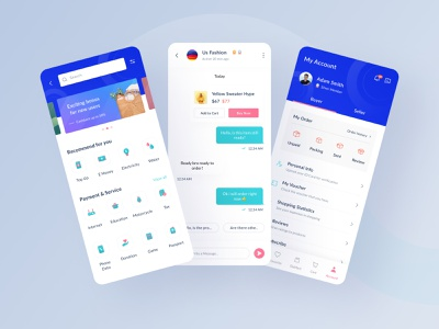 Siadagang Mobile UI Kit🌟 menu profile chat service ecommerce branding ux product source icon illustration ios