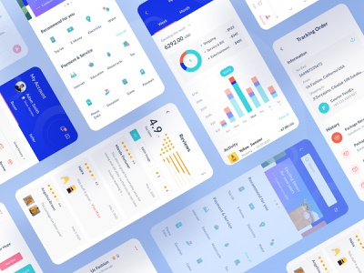 Siadagang Ecommerce Mobile UI Kit shipping profile category ratings ecommerce branding ux product source icon illustration ios