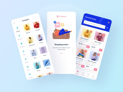 Siadagang Mobile UI Kit🌟 menu search onboarding category ecommerce branding ux product source icon illustration ios