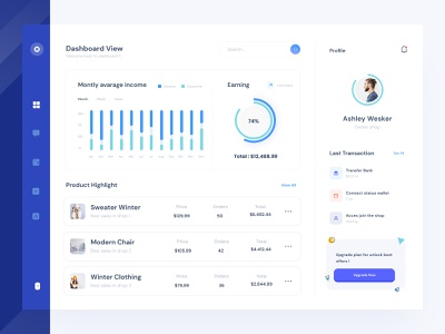 Ecommerce Dashboard UI icon insight sell blue buy freebies modern clean template dashboard ui mobile desktop figma sketch ecommerce data free download kit dashboard