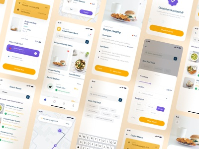 Food Delivery mobile UI kit send onboarding profile illustration buy food illustration icon yellow ios mobile source file free figma sketh freebies source download kit ui food