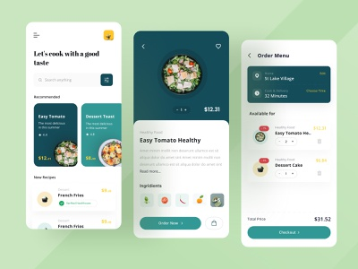 Cooking mobile app UI dinner cake kitchen mom health cafe green kit download free freebies cooking app phone android ios tutorial mobile restaurant food cooking