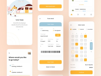 Train Ticket Booking Mobile UI kit product download ux ui illustration screen welcome ticketing seat calendar holiday vacation travel book mobile app booking ticket train