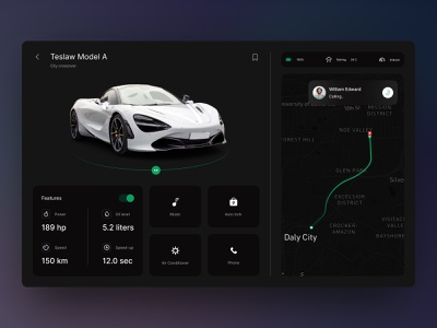 Car Detail Dashboard UI modern electric features map ui download buy kit product website dashboard mobile car