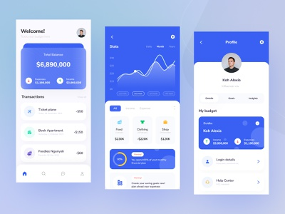 Budget Tracker Mobile UI graph chart design ui download buy kit product expenses income payment money tracker budget