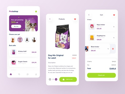 Pet Shop Mobile App UI dog cat cart care shop food pet android ios app mobile design branding ui download buy product kit