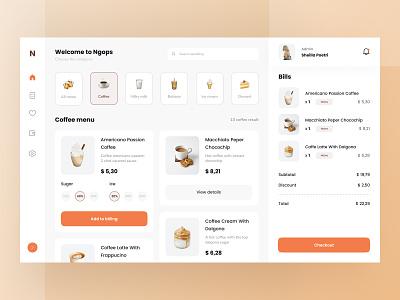 Coffee Shop Dashboard UI bill checkout bills ui beverages list espresso menu shop admin coffee dashboard download buy product kit