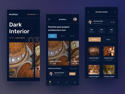 Architecture Mobile App UI interior hotel home mode dark house estate real architecture architect app mobile design ui download buy product kit