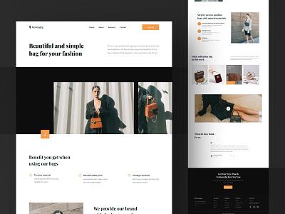 E-Commerce Bag Store Landing Page UI footer video elegant shop e-commerce ecommerce store bag website page landing design ui download buy product kit