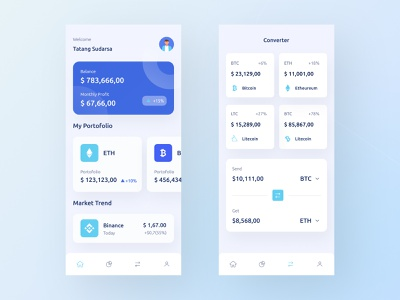 Cryptocurrency Wallet Mobile App UI graph chart trade crypto portfolio exchange wallet cryptocurrency app mobile design download buy product kit