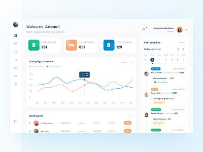 Hotel Management Dashboard UI booking website calendar schedule line graph hotel chart dashboard design download buy product kit