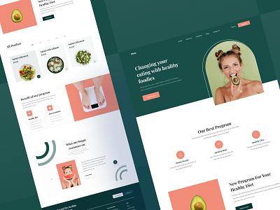 Healthy Diet Landing Page UI responsive salad program health food healthy diet website page landing design download buy product kit
