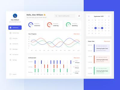 Language Learning Dashboard UI calendar e-course course learning language chart website dashboard design ui download buy product kit