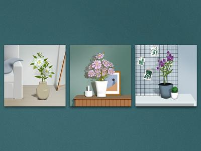 Plant murals magnolia daisies