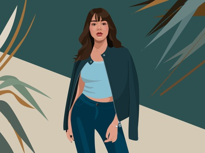 Cool girl leaf illustration girl cool girl