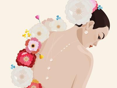 Flowers and girls ui girl illustration