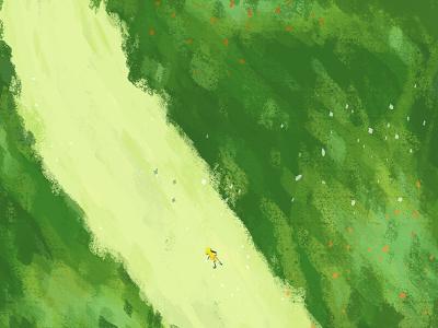 Little girl forest ui girl illustration