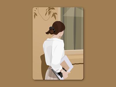 Girl in the sun life style. light sun woman girl illustration