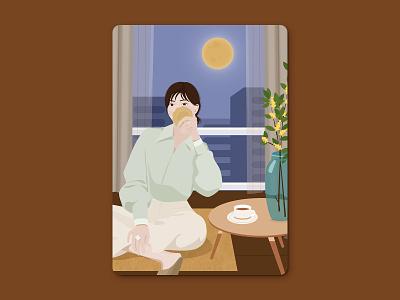 Mid-Autumn Festival moon cake woman girl mid-autumn festival illustration