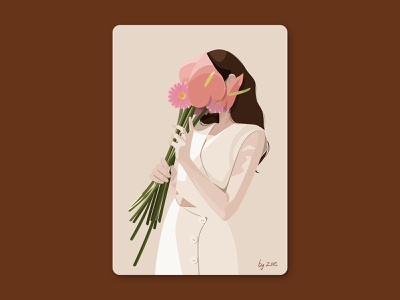 Girl and flowers flowers girls and flowers autumn woman ui girl illustration