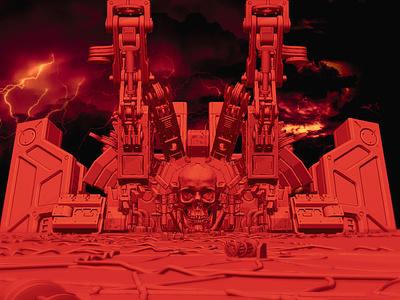 Dribble Fortress fortress guns drone skull dark design illustration blender render 3d art 3d