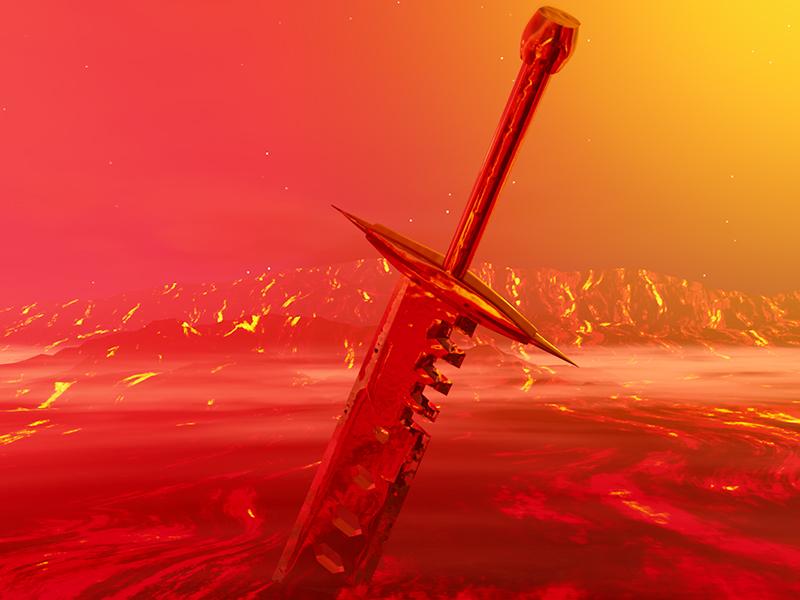 Sword of Doom lava 3d doom c4d sword