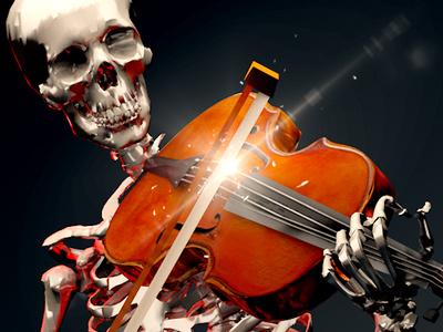 Fiddler violin skeleton 3d art animation c4d 3d