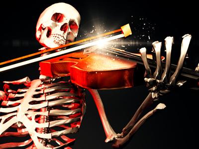 """01 03 2019 """"The Fiddler"""" violin skeleton c4d render 3d art 3d"""