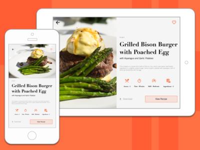 Day 9 Recipe Card Mobile Tablet ui responsive mobile restaurant recipe nutrition food widget flat