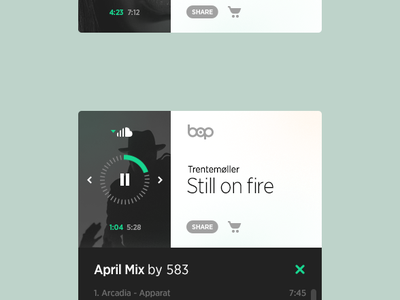 Bop Music Player Variation 1 user interface ui music player embed mini audio spotify radio web design
