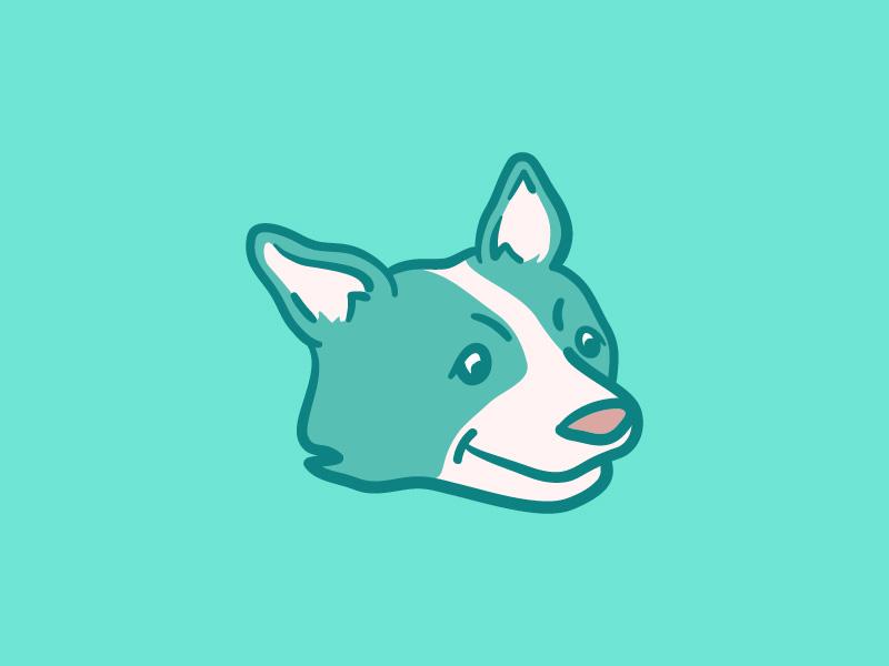 Teal Corgi dog teal illustration corgi
