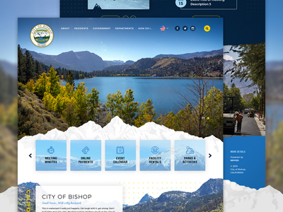 City of Bishop, CA - Homepage Design service california mountains homepage ux branding design web government