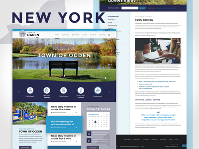 Town of Ogden, NY Government Homepage service search bar ux homepage design branding web government