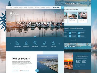 Port of Everett, WA Multi-Page Redesign microsite alerts mega menu industry business washington service ux homepage design branding web government