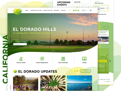 El Dorado Hills Community Service District mega menu flow community california logo web branding homepage ux service government