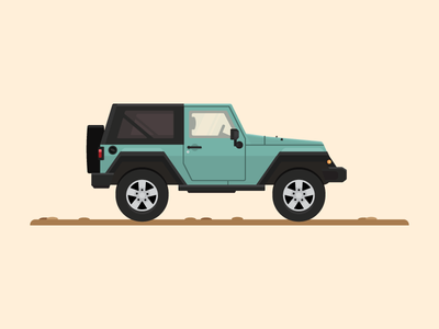Lil' Green beep transportation auto car illustrator vector illustration jeep