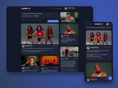 Jukebox responsive web app dark mode nowplaying twitter youtube ux ui web design