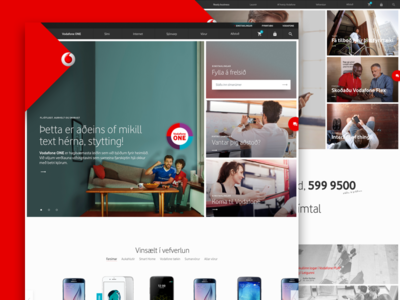 New front page for Vodafone ecommerce e-commerce navigation list layout corporate front page vodafone
