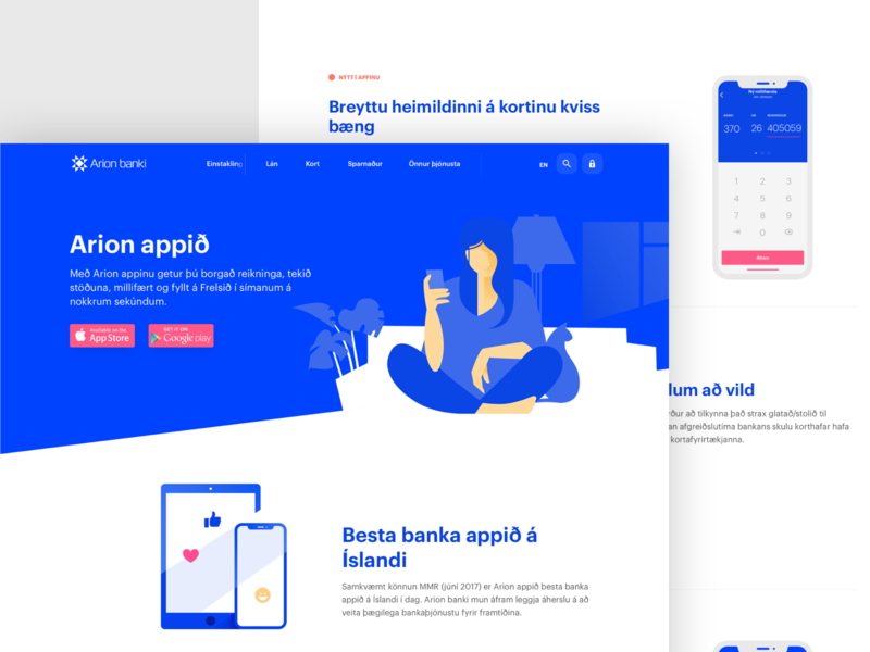 Arion - App Page banking app banking finance corporate app page designsystem web design