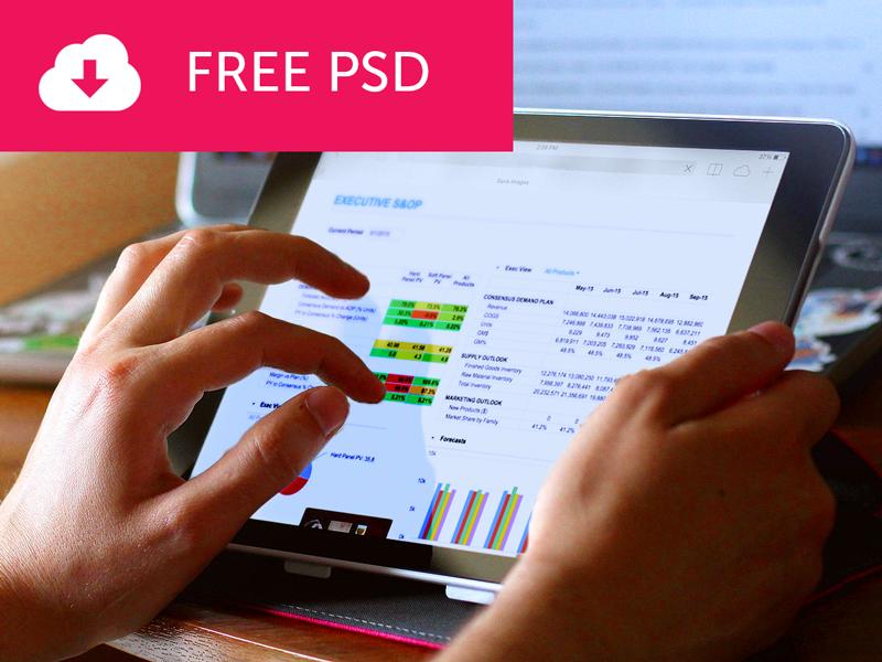 Tablet PSD Mockup design web hands portfolio screen ui tablet photoshop free mockup