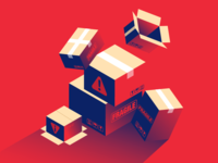 Fragile fall warning shadow red illustration isometric fragile box supply