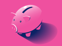 piggy bank graphic illustration shadow isometric money bank pig pink