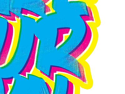 Single Stroke R screen printing cmyk halftone painting single stroke lettering