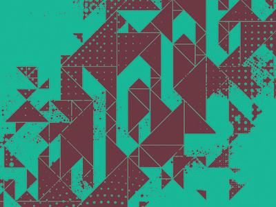 Jcrew T-shirt triangles geometric pattern half-tones custom type