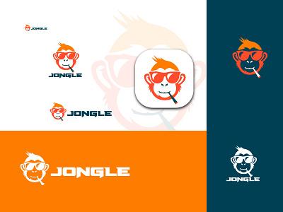 monkey flat logo design, animal logo vector jungle animal logo animal vector logo design logo vector monkey logo