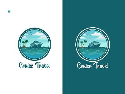 Cruise travel logo design ui branding design logo illustration creative logos coustom logo company brand logo business logo logo design ship ship logio boat travel logo cruise travel